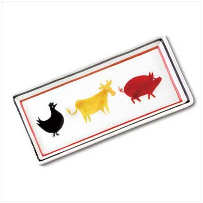 Cow, Chicken and Pig Ceramic Tray  37758