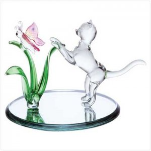 Glass Cat and Butterfly  33893