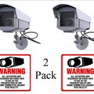2 Outdoor Fake Dummy SECURITY Surveillance Cameras with 2 Free Video Warning Decals