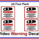 """4 Pack Commercial Security, Surveillance Video CCTV Warning! Deterrence Decals -  #204  4""""'x 4"""""""