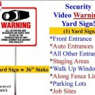 """Outdoor Security Surveillance CCTV Video Warning! Sign #204 on 36"""" Stake"""