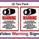 2 pk Commercial Grade Outdoor/Indoor Security Surveillance CCTV Video Warning! Sign #204