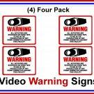 4 pk Commercial Grade Outdoor/Indoor Security Surveillance CCTV Video Warning! Sign #204
