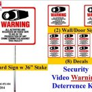 Commercial Grade CCTV Security Surveillance Video Warning! Deterrence System Signs & Decals  #204