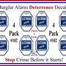 8 Commercial Grade Burglar Alarm System Deterrent Warning Decal #102