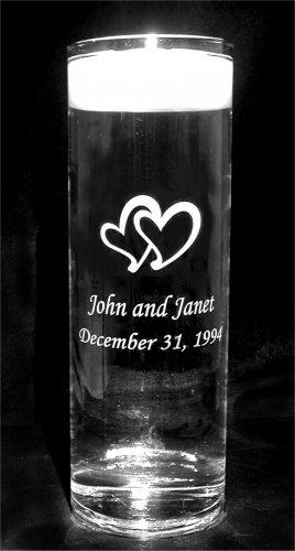 Personalized Double Hearts Floating Wedding Unity Candle