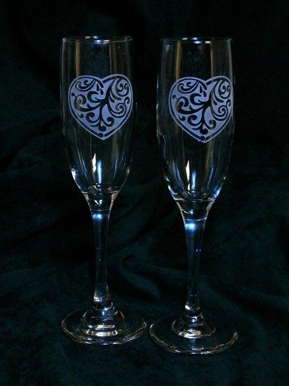 Heart Theme Wedding Toasting Glasses