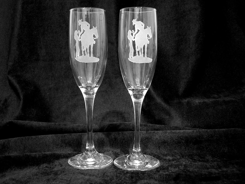 Western Theme Wedding Toasting Glasses