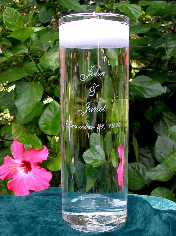 Personalized Wedding Floating Unity Candle & Vase NEW