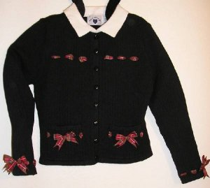 Hartstrings Boutique Sweater Black with Red Plaid Bows Girls Size 6X New NWT