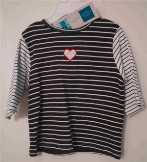 Baby Girl Infant Navy Blue Stripped Heart Shirt 100% Cotton 12 Months