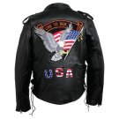 Mens Hand-Sewn Pebble Grain Genuine Buffalo Leather Jacket