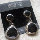 Sterling Silver Post Dangling Earrings with Black Accents