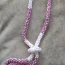 Vintage 80's Tie Style Beaded Necklace