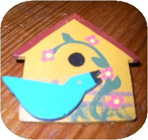 Wooden Hand painted Bird House Brooch