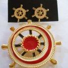 80's Vintage Sea and Boat Caption Wheel Jewelry Set