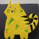 Large Hand painted Bright Yellow Cat Brooch