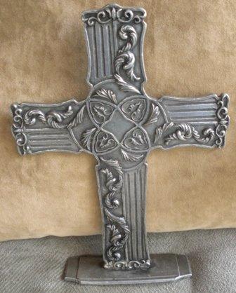 Pewter Embossed Carpentree Ornate Cross