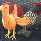 Vintage and Country Cloth Stuffed Roosters