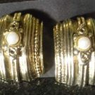 Vintage Bold Deep Gold Tone Pearl Accented Earrings