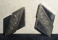 Vintage Art Deco Men�s Cuff Links with Etched Design