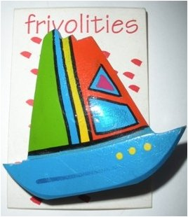 80�s Vintage Hand Painted Wooden Sailboat Brooch