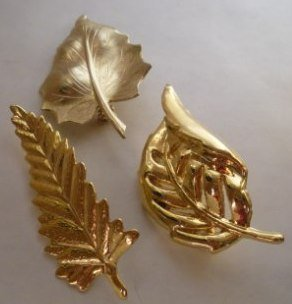 Vintage Lot of 3 Shiny Autumn Fall Leaf Brooches