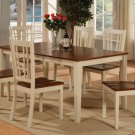 "7-PC-Nicoli Dining Set Table -Size 36""X66""-Buttermilk & Saddle Brown.SKU:N7-WHI-W"