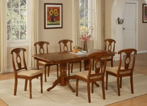 """7-PC-Napoleon Rectangular Dining Table Set- 40�X76�-with 17"""" extension leaf. SKU:NA7-SBR"""