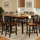7-PC Chelsea Gathering Counter Height Table with 6 Wood Seat Chairs Black & Brown, SKU#: CH7-BLK-W