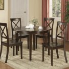 5PC Boston Contemporary Round Table with 4 Chairs in Cappuccino. SKU#: B5-CAP-W