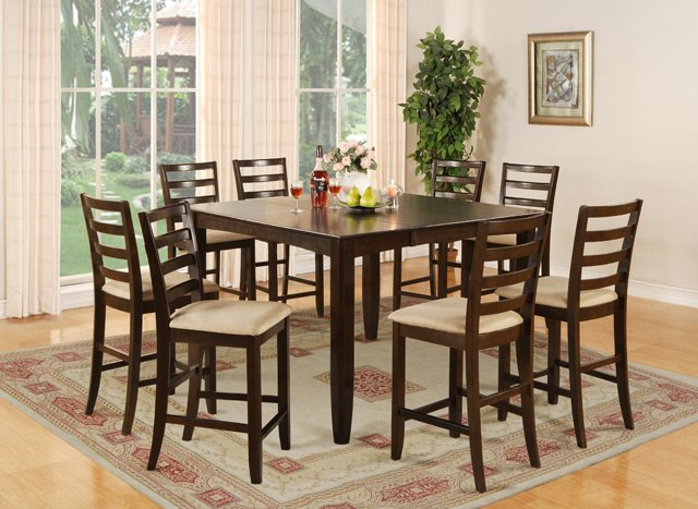 dining room sets that seat 8 | 9-PC Fairwinds Square Counter Height Table with 8 Padded ...