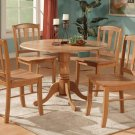 "5-PC Dublin dinette kitchen set, table 42"" round w/4 wood seat chairs in Oak Finish. SKU: D5-OAK-W"