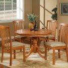 "5PC Hartland Dinette Kitchen set  42"" diameter Round Table & 4 chairs-Light Cherry. SKU:HA5-CHR"
