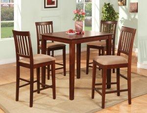 5-Piece Vernon Square Pub Table Set with 4 stools- in Mahogany Finish.  SKU: VN5-MAH