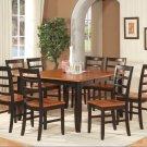 "Parfait 9-Pc Square Gathering Dining Table Set-54""x54""-Extension leaf-Black & Cherry.SKU: PA9-BLK"