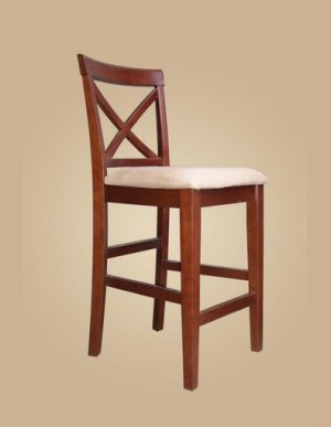 Set of 2  Pub counter height stools with microfiber upholstered seat in Dark Brown finish.