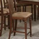 Set of 2  Chelsea counter height stools with microfiber upholstered seat in Mahogany finish.
