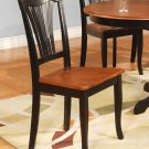 Set of 2 Avon dining room chairs with wood seat in Black & Saddle Brown finish.