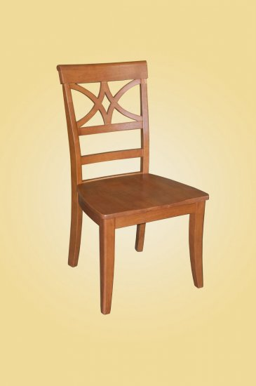 Set of 2 Elington dining room chairs with wood seat in Light Cherry finish.