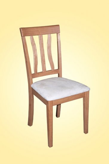 Set of 2 Antique dining room chairs with microfiber upholstered seat in Light Oak finish.
