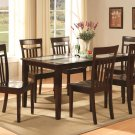 "Capri-5-PC Rectangular Dinette Dining Set in Cappuccino-Table  36""x60""- Glass top. SKU:C5G-CAP-W-"