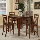 """5-Pc East-West Counter Height Table + 4 Stools -Size: 42""""x42"""" in Mahogany. SKU:EW5-MAH-W"""