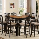 9-PC Chelsea Gathering Counter Height Table with 8 Chairs in Black & Brown, SKU#: CH9-BLK-C