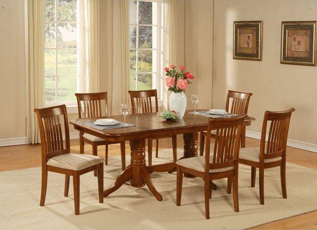 "9-PC-Naport Rectangular Dining Set -Table 40�X76�-with 17"" extension leaf.SKU: NAP9-SBR"