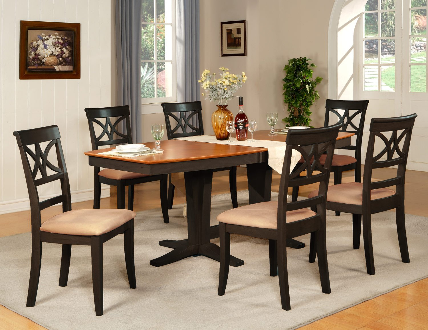 Ellington 7-Pc Dining Table Set-40�X82�-extension leaf- in Black & Cherry.  SKU: EL7-BLK-C