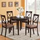 Boston 5-PC Set, Round Table with 4 Upholstered Chairs in Cappuccino Finish. SKU: B5-CAP-C