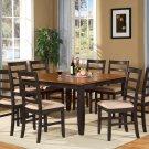 "Parfait 9-Pc Square Gathering Dining Table Set-54""x54""-Extension leaf-Black & Cherry.SKU: PA9-BLK-C"