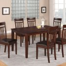 """7PC DINETTE DINING SET TABLE 36X60"""" with 6 LEATHER SEAT CHAIRS IN MAHOGANY -SKU# C7S-MAH-LC"""