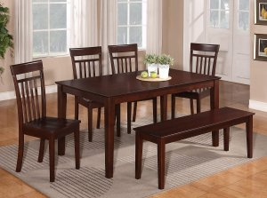 "6PC DINETTE DINING SET TABLE 36X60"" w/4 WOOD SEAT CHAIRS & ONE BENCH IN MAHOGANY -SKU C6BEN-MAH-W"